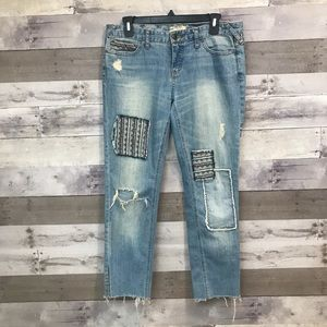 Free People Distressed Patchwork Jeans Size 28